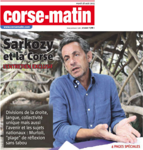 An exclusive interview with Nicolas Sarkozy. Credit: Corse Matin