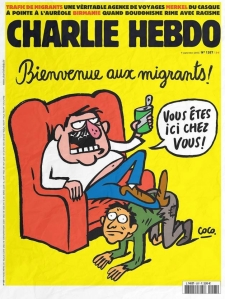 The cover of a recent edition of Charlie Hebdo. It reads: