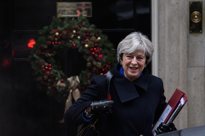 Theresa May Leaves Downing Street For Prime Minister's Questions